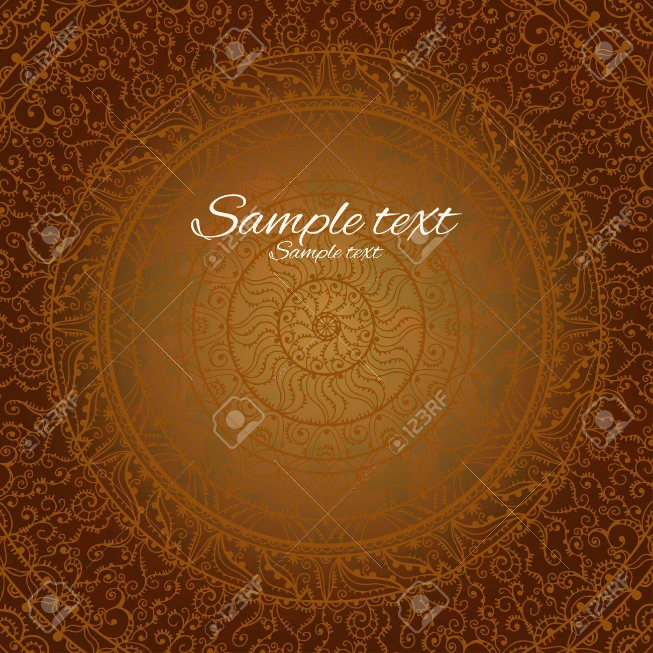 Vintage invitation decoration on brown  background with lace ornament-vector Stock Vector - 18649826