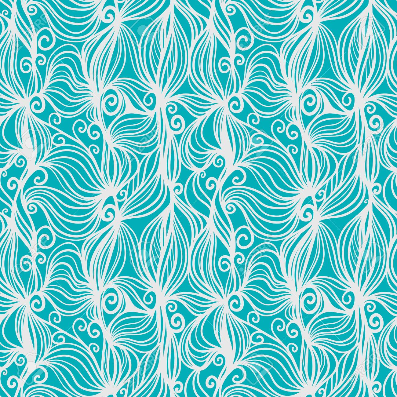 Green abstract with white waves seamless pattern - vector Stock Vector - 18649790