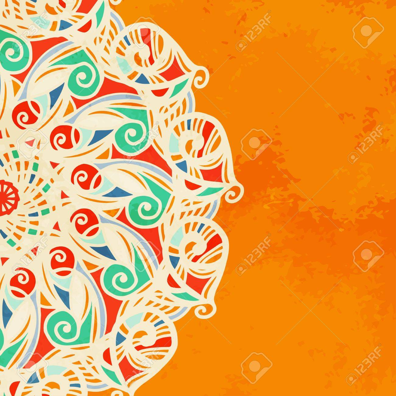 Vintage invitation decoration on orange background with lace ornament Stock Vector - 18791566