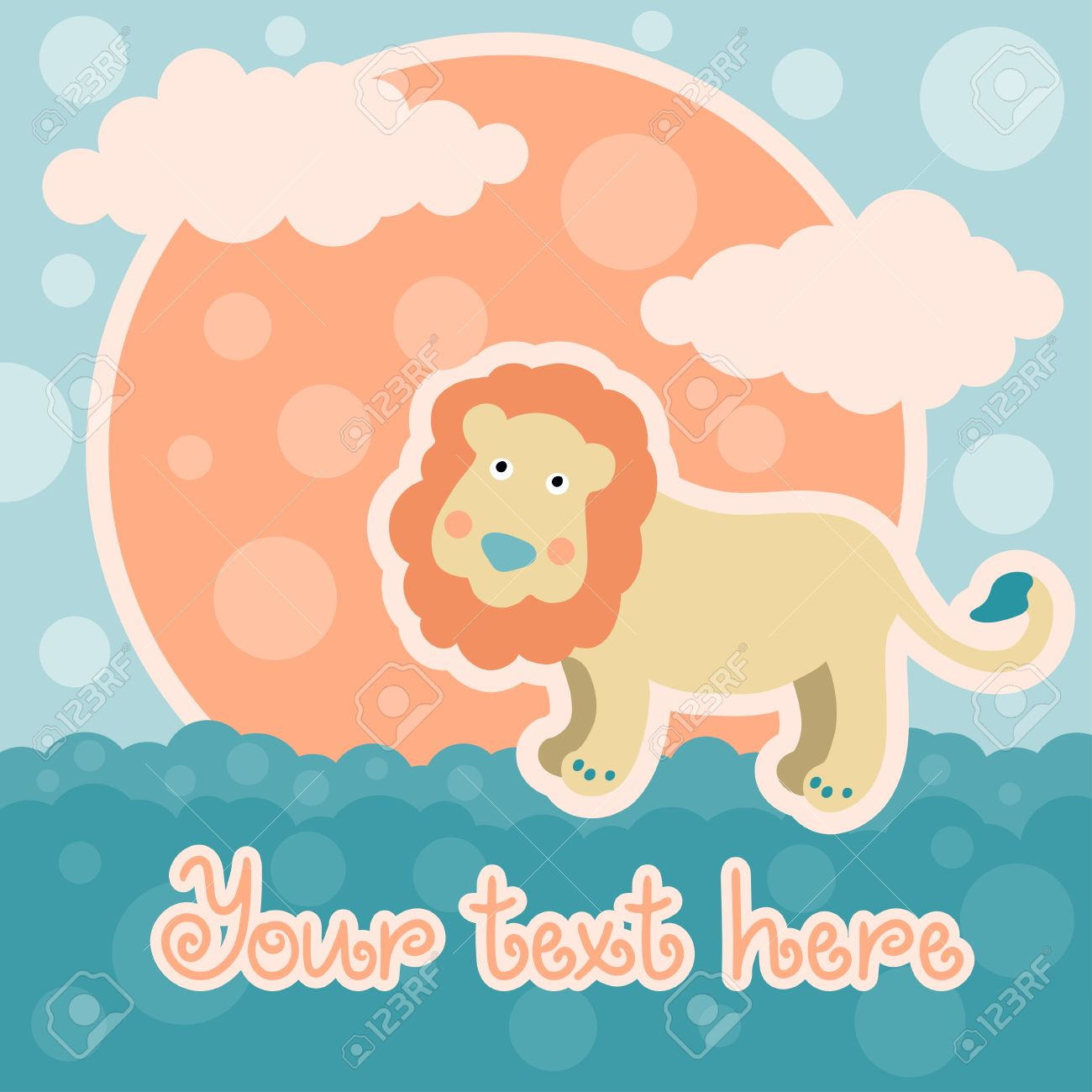 Baby shower card with lion and space for text - vector Stock Vector - 19031844