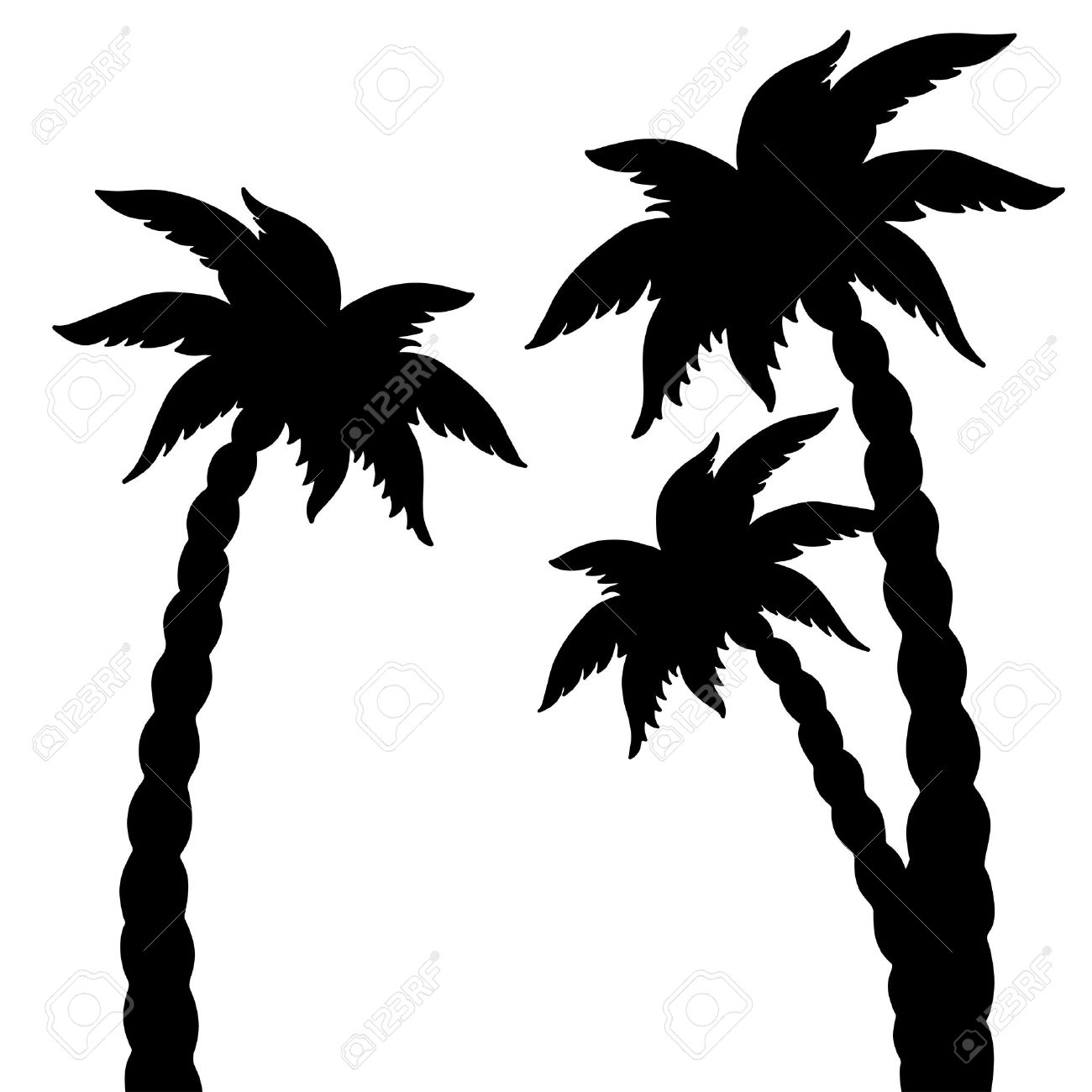 set coconut palms trees silhouettes isolated on white background rh 123rf com palm trees vector art free palm trees vector silhouette