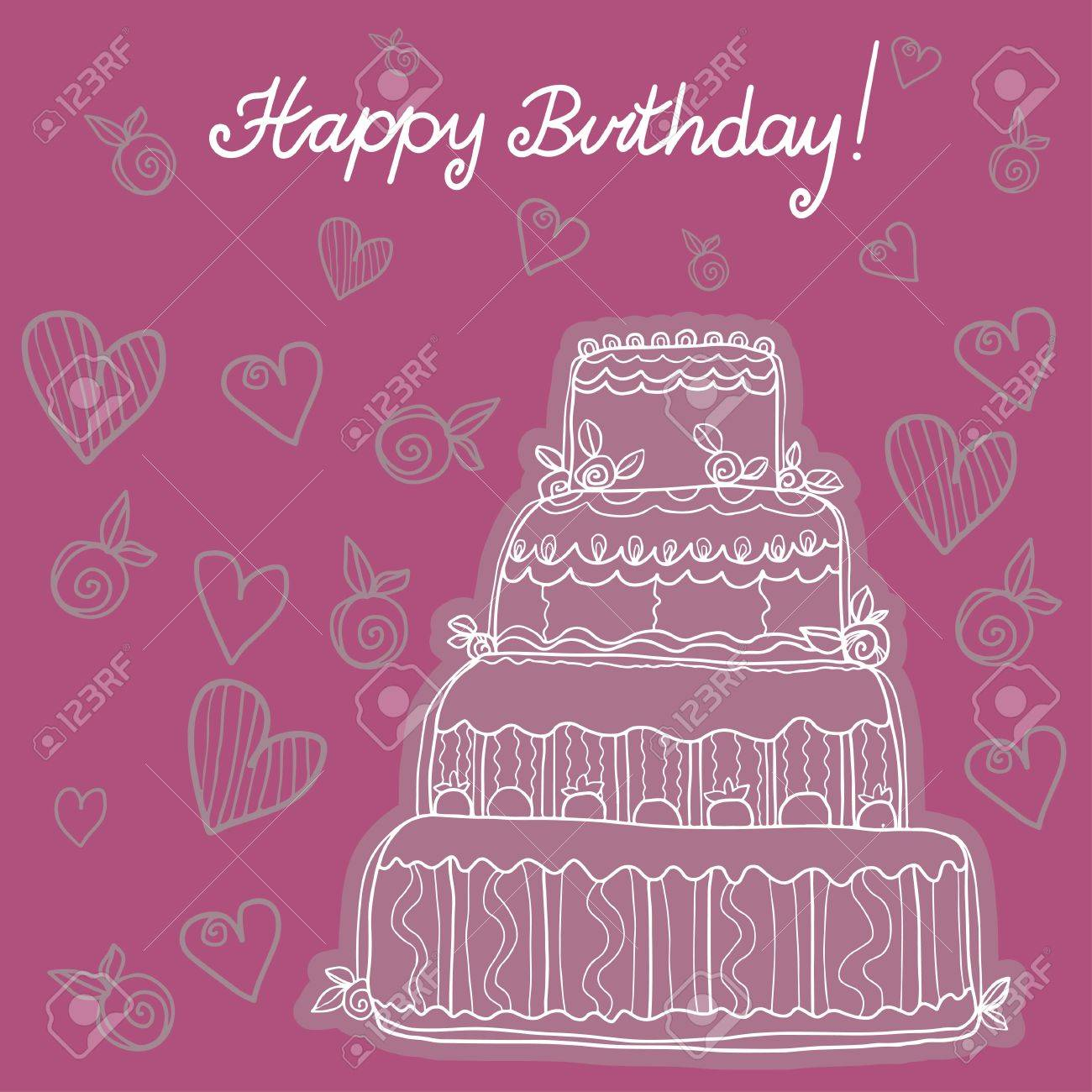 Happy Birthday Background With Birthday Cake Royalty Free Cliparts