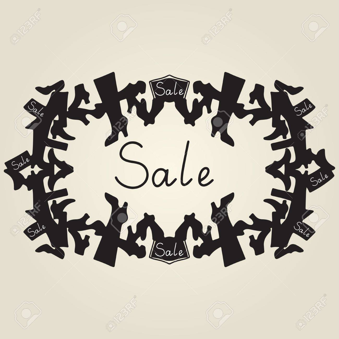 Vintage Frame Shoes Sale Royalty Free Cliparts Vectors And Stock