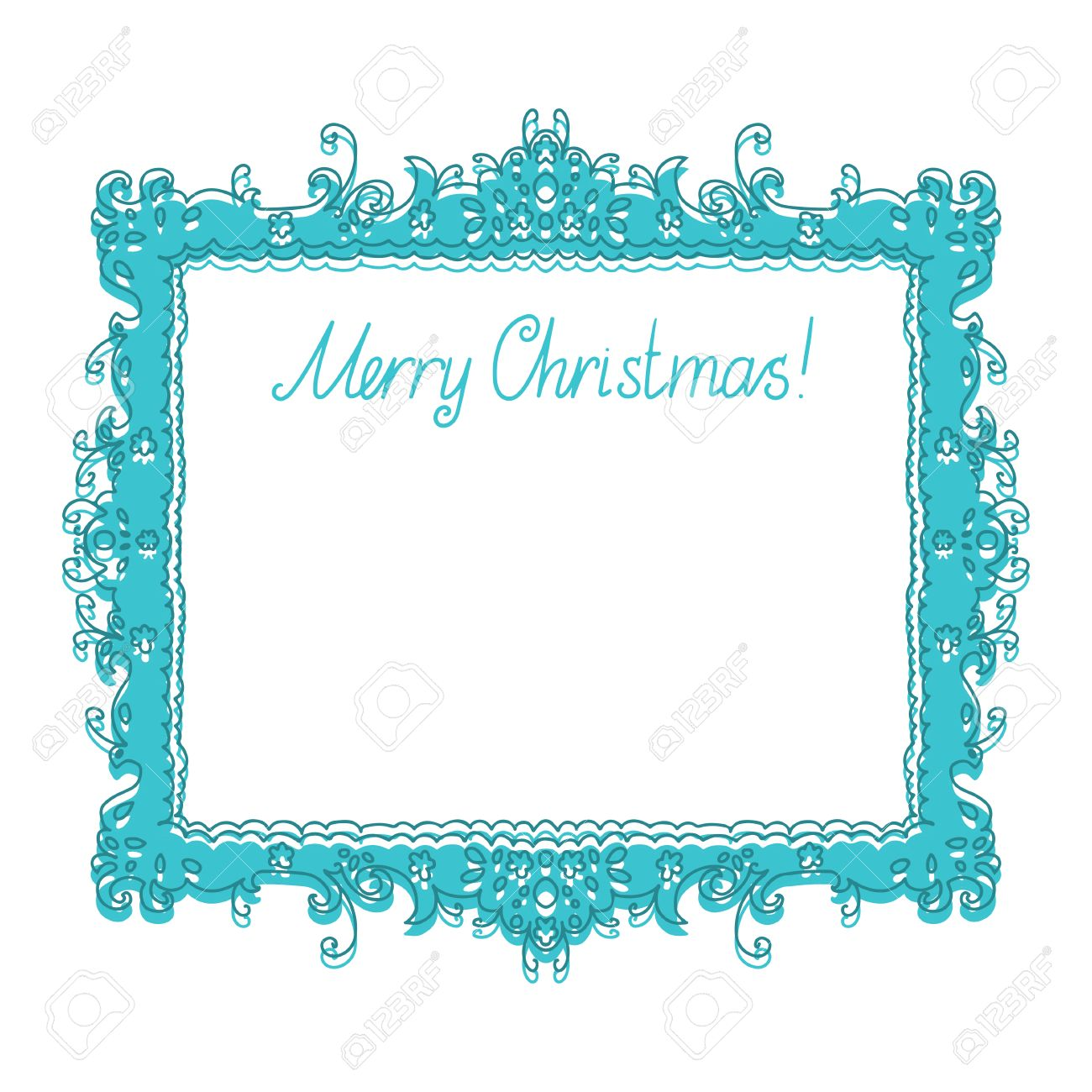 Holiday New Year and Christmas background with frame, flowers and text Merry Christmas - vector Stock Vector - 22297342