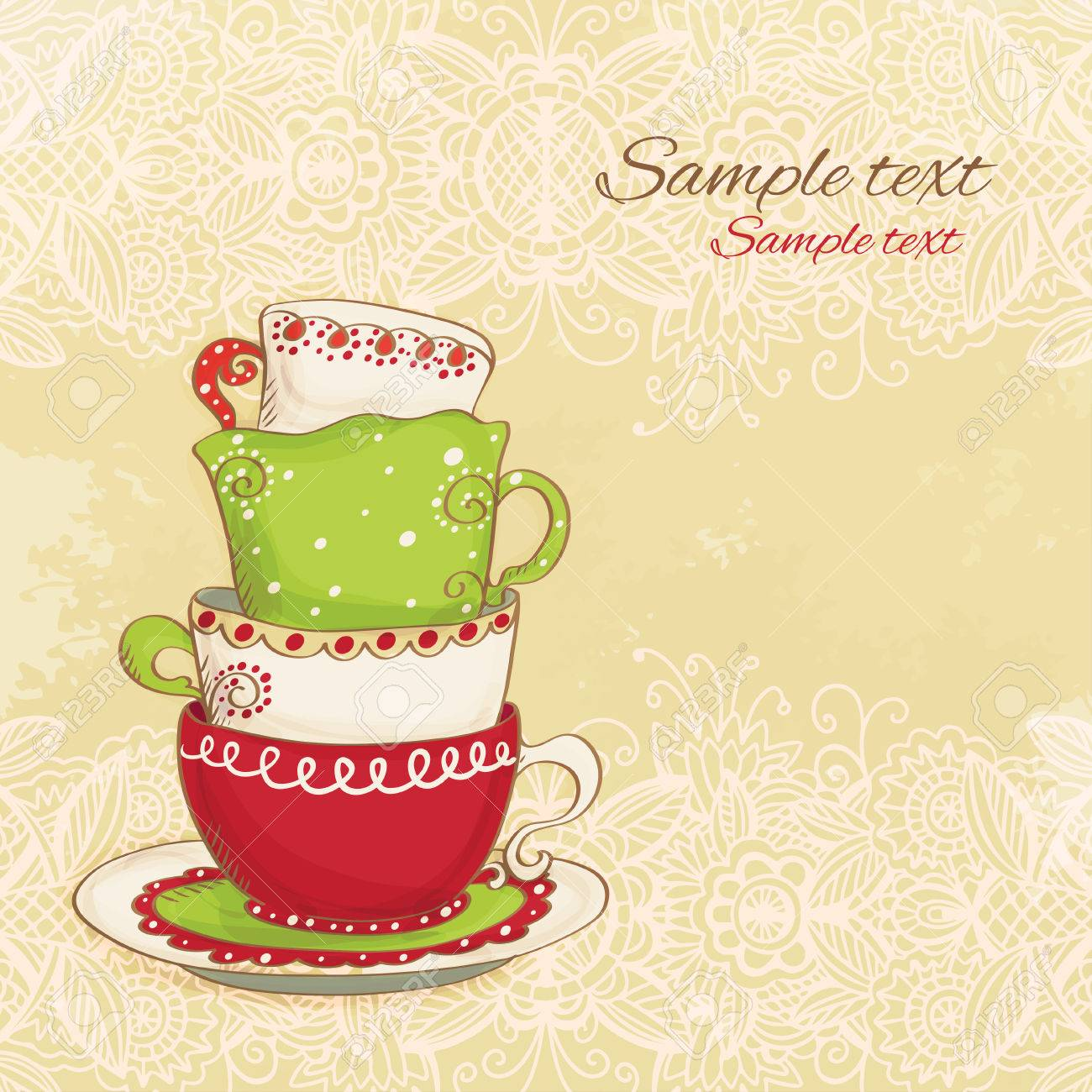 Elegant tea party invitation template with teacups cartoon vector - Tea Party Vintage Background Vector Stock Vector 22587548