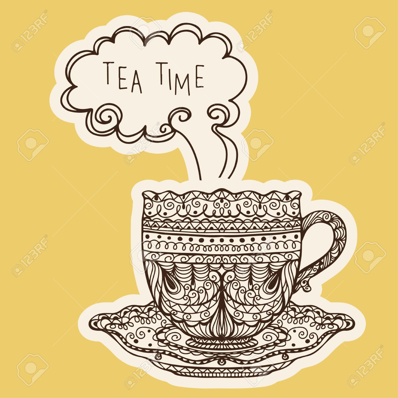 Elegant tea party invitation template with teacups cartoon vector - Vintage Tea Cup Icon Vector Stock Vector 22567468