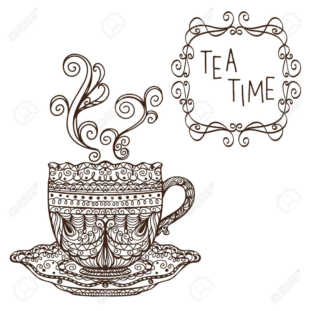 Elegant tea party invitation template with teacups cartoon vector - Tea Party Vintage Background Vector Stock Vector 22567551