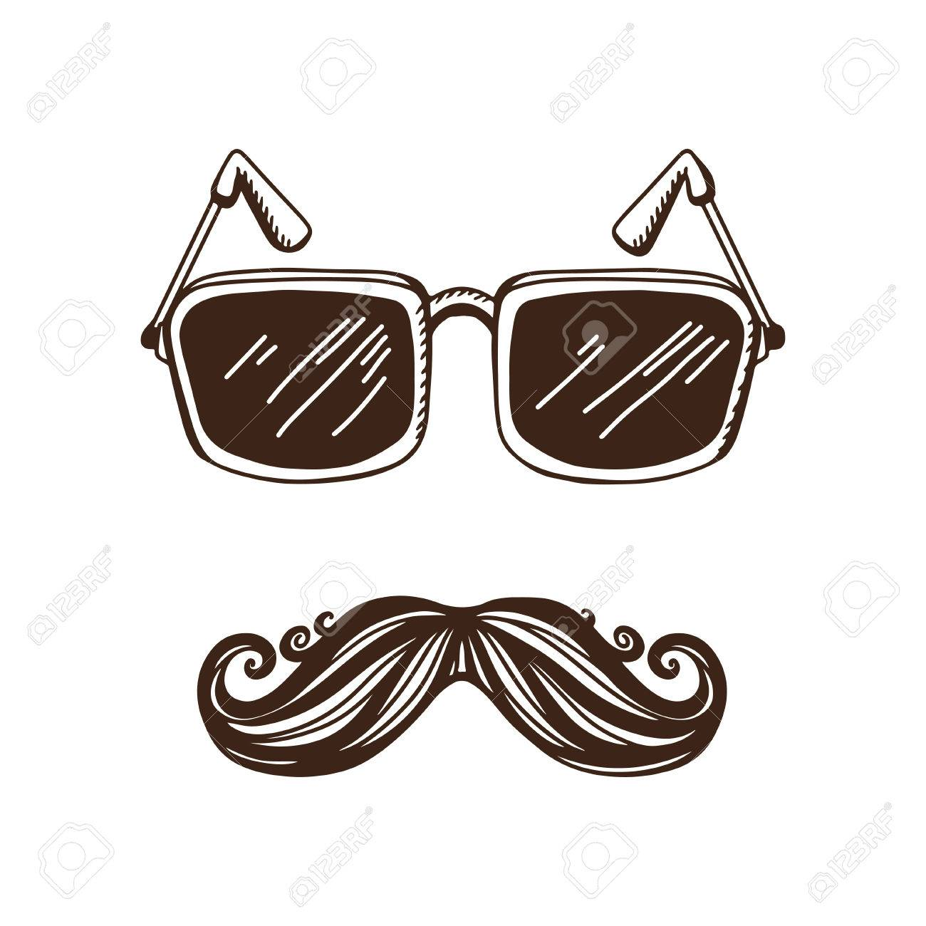7ea905b0a Vector - Vintage hipster background with a mustache and glasses - vector