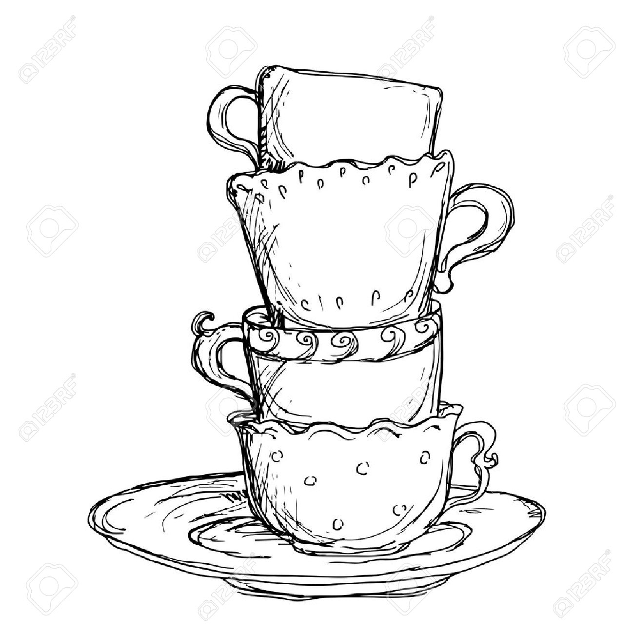 Set Sketch Cups And Saucer Isolated Vector Royalty Free Cliparts Vectors And Stock Illustration Image 23679248