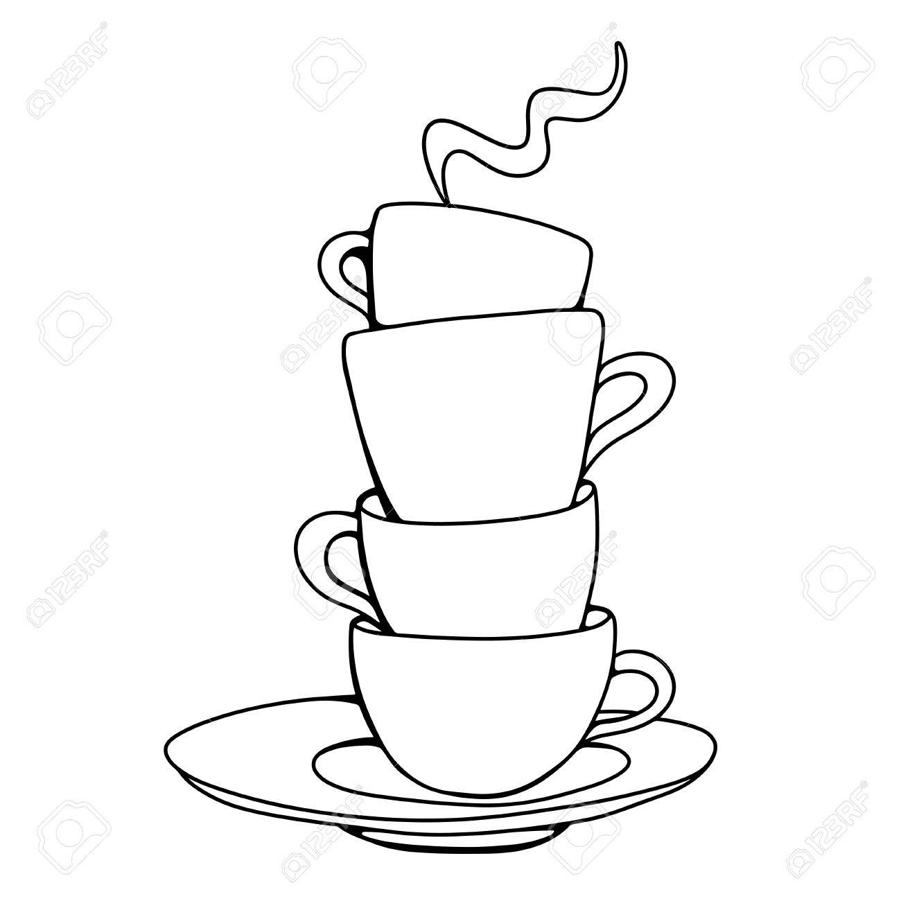 Set Sketch Cups And Saucer Isolated Vector Royalty Free Cliparts Vectors And Stock Illustration Image 23679249