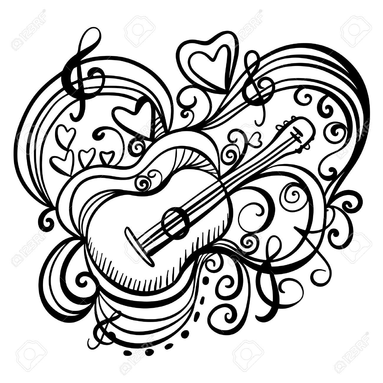 Foto de archivo , Icono de la música abstracta con la guitarra, corazones, notas musicales, clave de sol Líneas negras a mano ilustración dibujo Doodle de