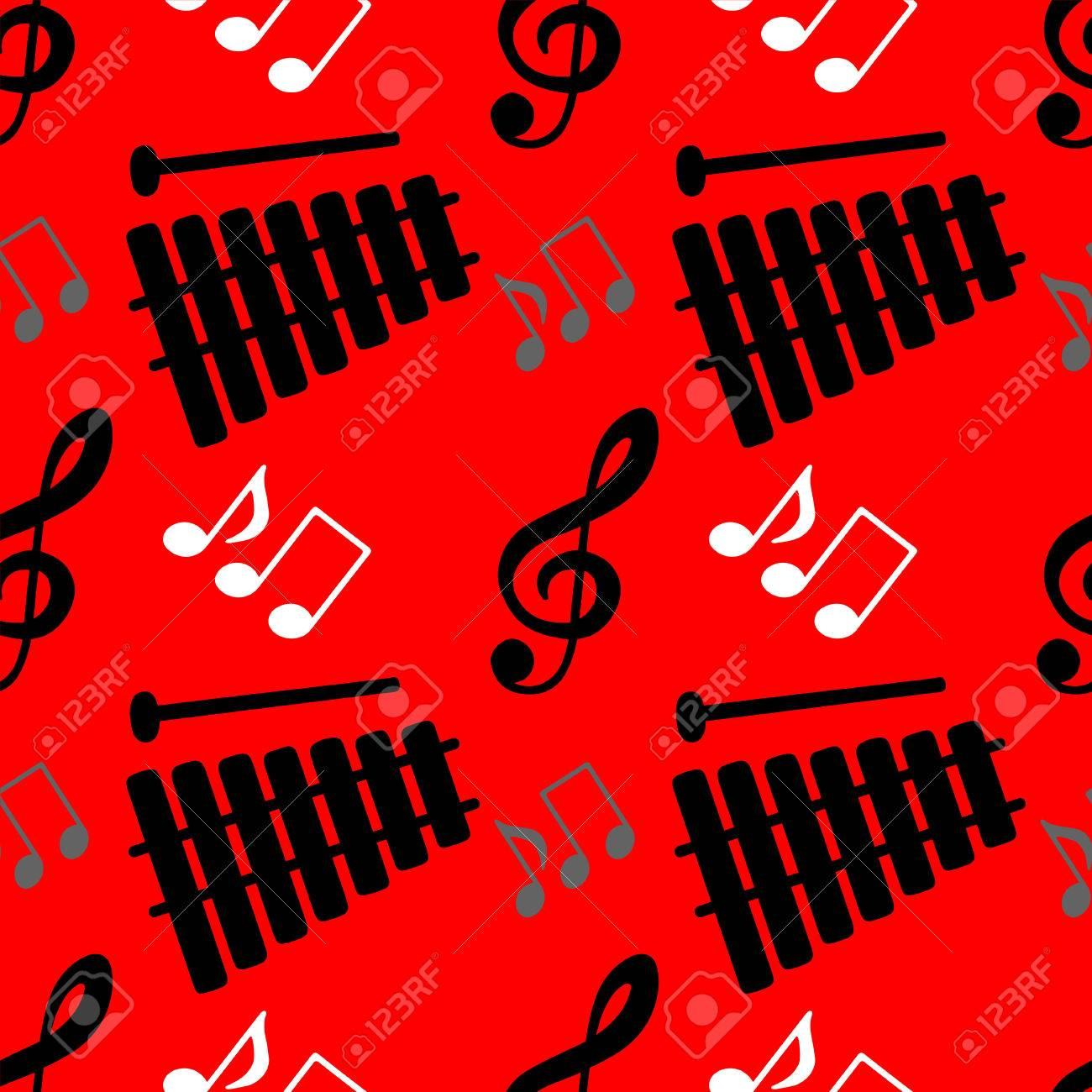 Musical Seamless Pattern With Silhouettes Music Notes Treble Royalty Free Cliparts Vectors And Stock Illustration Image 27656167