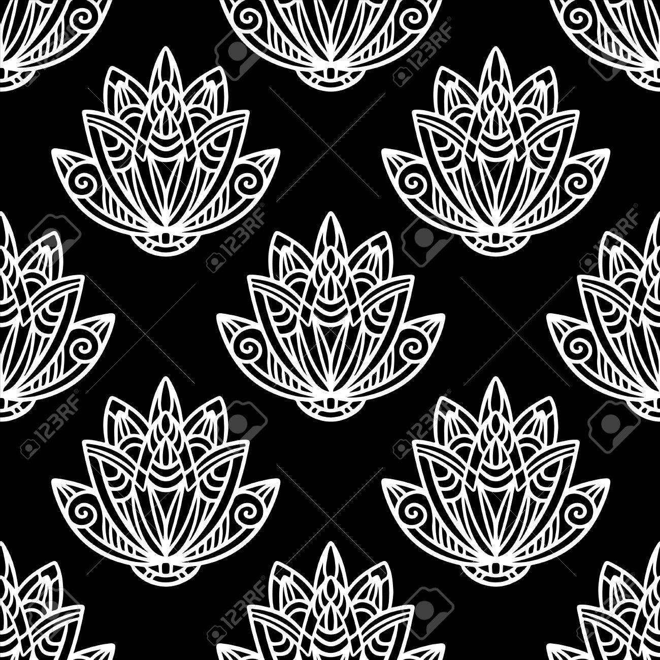 Abstract Seamless Pattern Floral Avec Des Fleurs De Lotus En Noir Et Blanc Nénuphar Dessin Illustration Main Sans Fin Texture D Impression Rétro