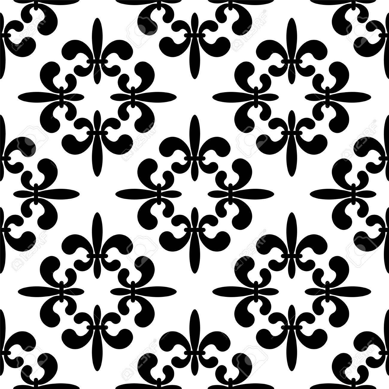 Patron Transparente Con Siluetas De Flores De Lis Reales En Blanco Y Negro Fondo Monocromo Gotico Fleur De Lis Textura De Impresion Sin Fin