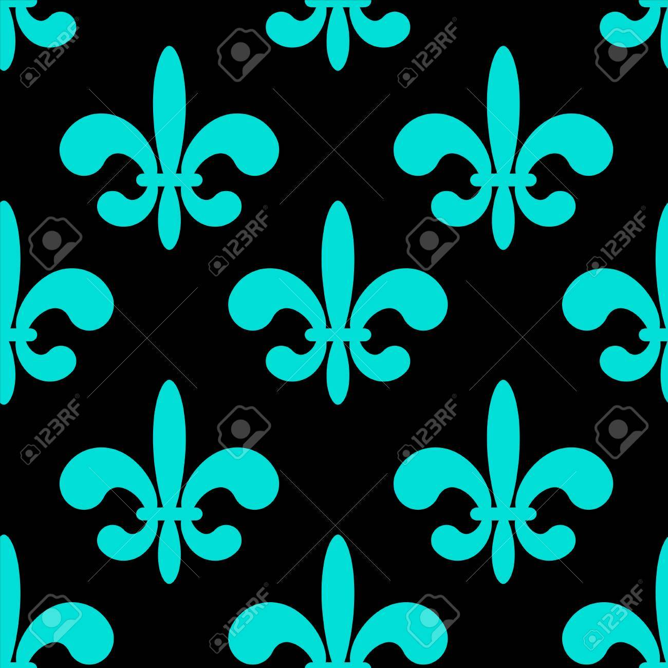 seamless pattern with blue silhouettes gothic royal lily flowers