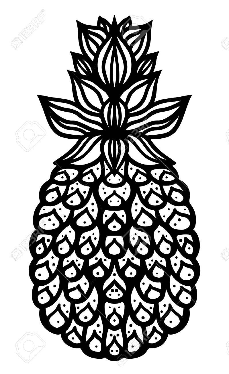 Pineapple Black Sketch Cartoon Hand Drawn Illustration Isolated ... for Clipart Pineapple Black And White  110yll