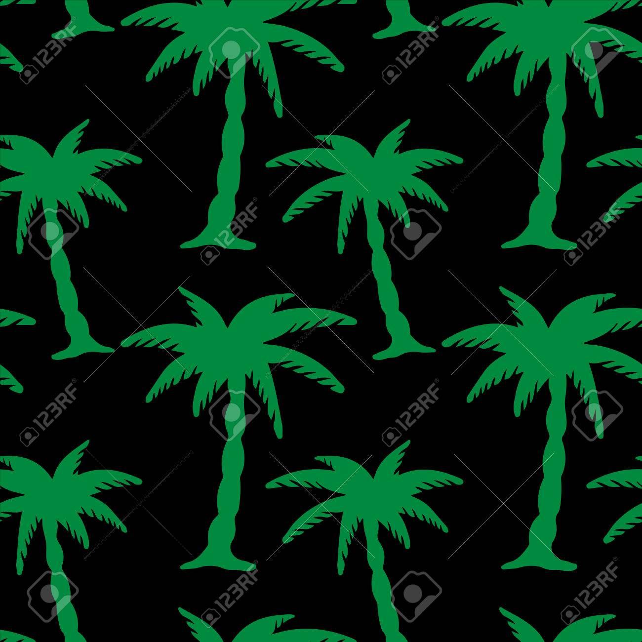 シルエット熱帯の椰子の木と抽象的な花柄シームレス パターン 夏の背景 熱帯雨林 無限印刷テクスチャです ファブリックの設計 壁紙のイラスト素材 ベクタ Image