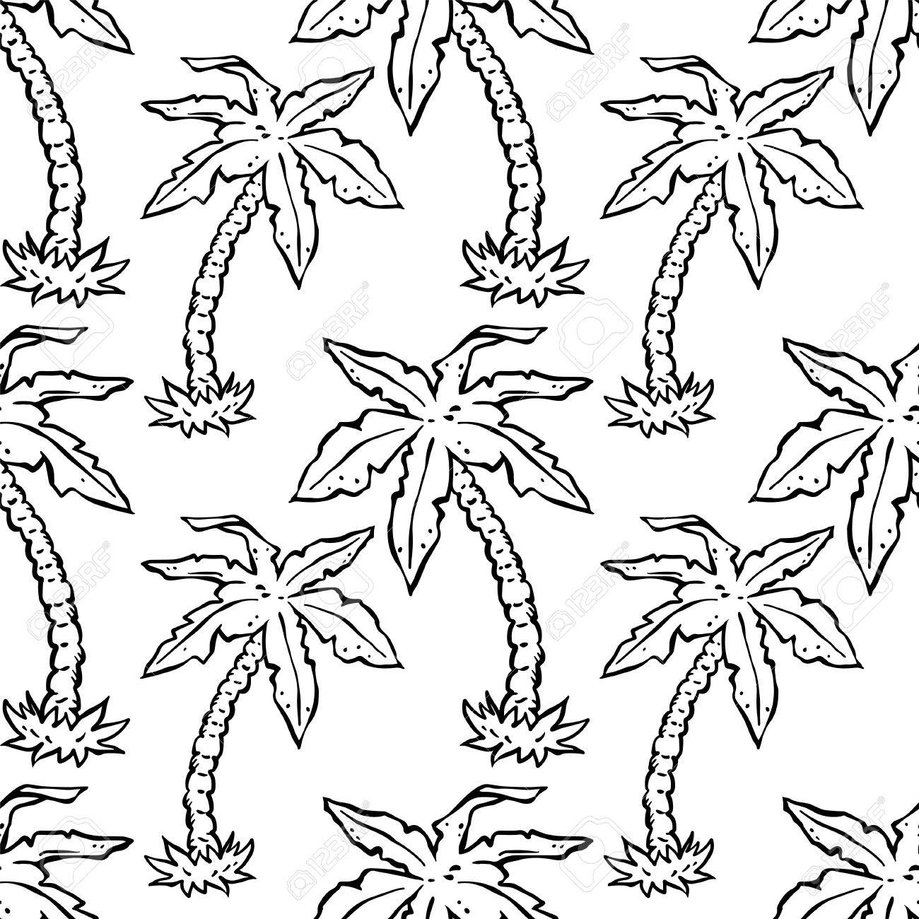 Wallpaper abstract seamless pattern with cartoon tropical coconut palm trees in black and white floral monochrome