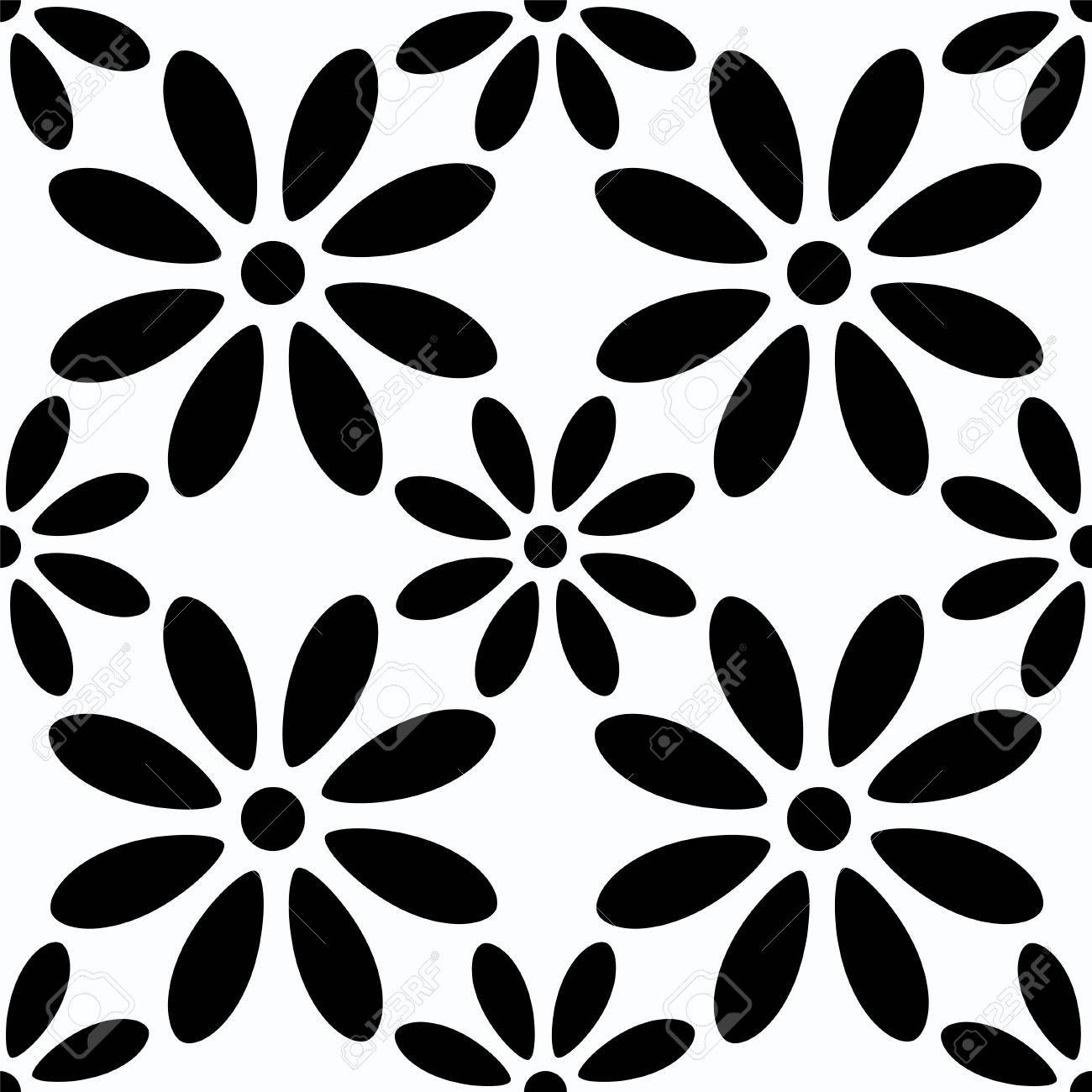 Seamless Pattern With Silhouettes Daisy Flowers In Black And