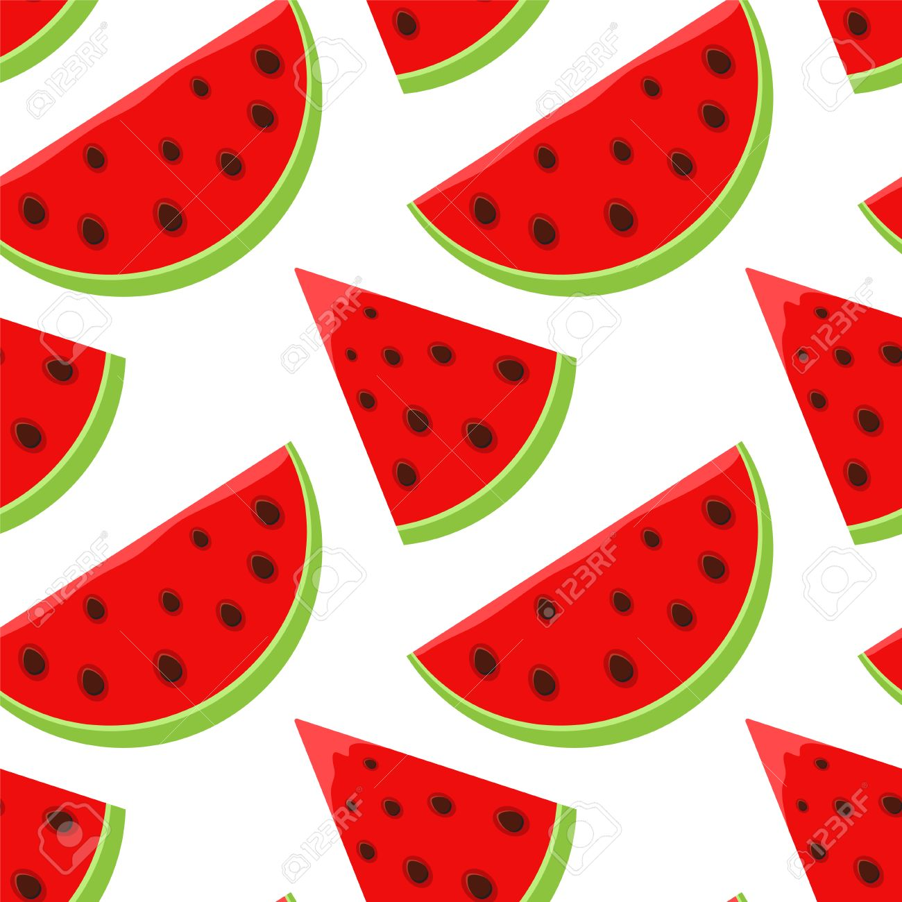Seamless Pattern With Cartoon Watermelon Slices On White Background