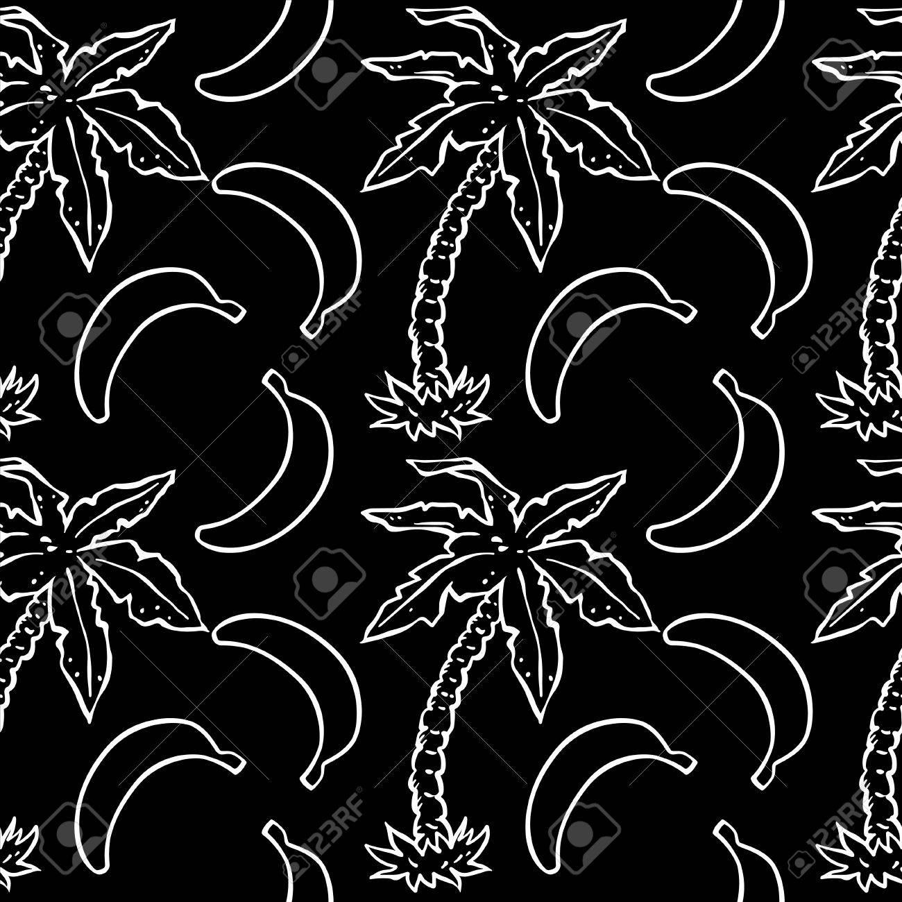 Abstract Seamless Pattern With Tropical Coconut Palm Trees And