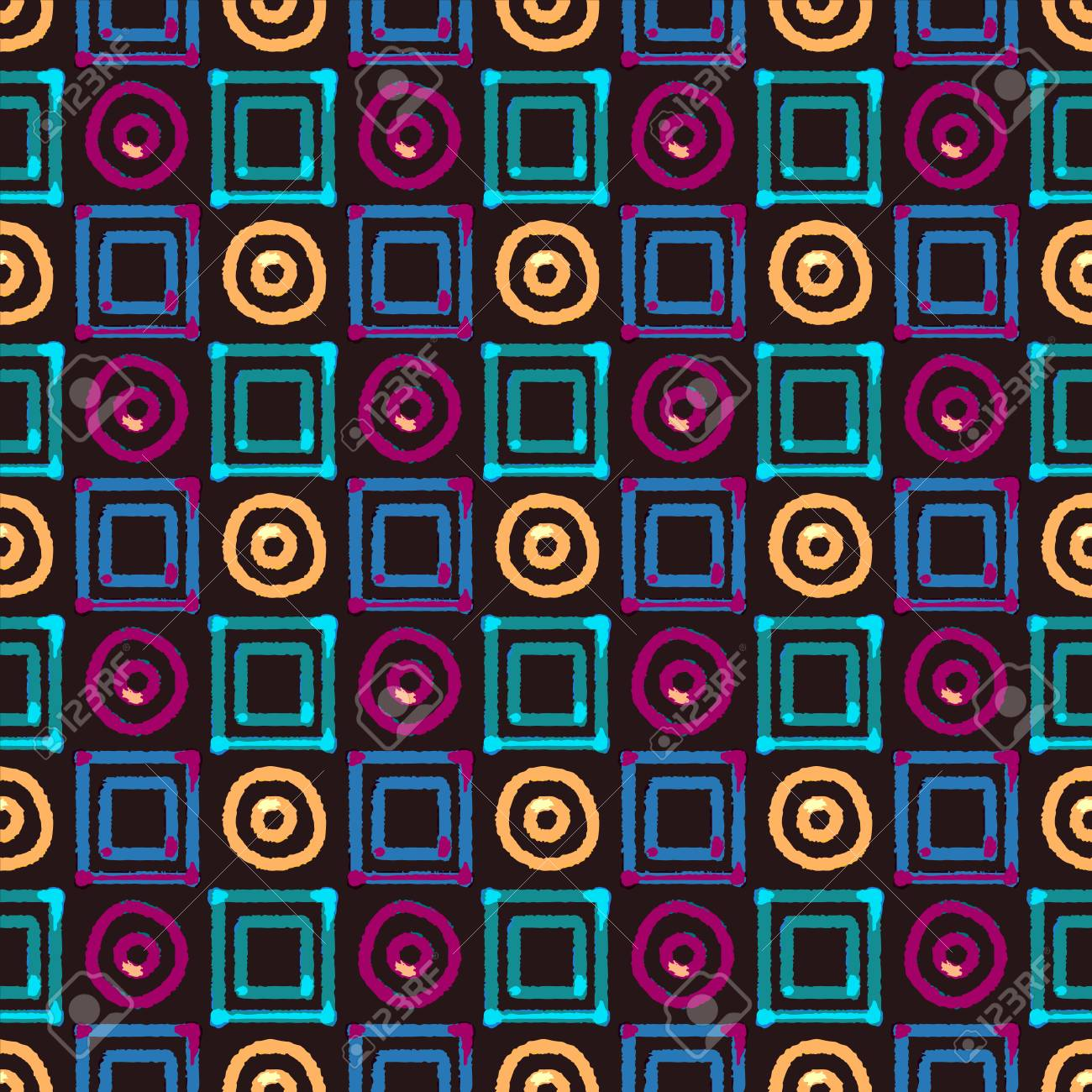 Abstract Art Geometric Distressed Seamless Pattern With Squares
