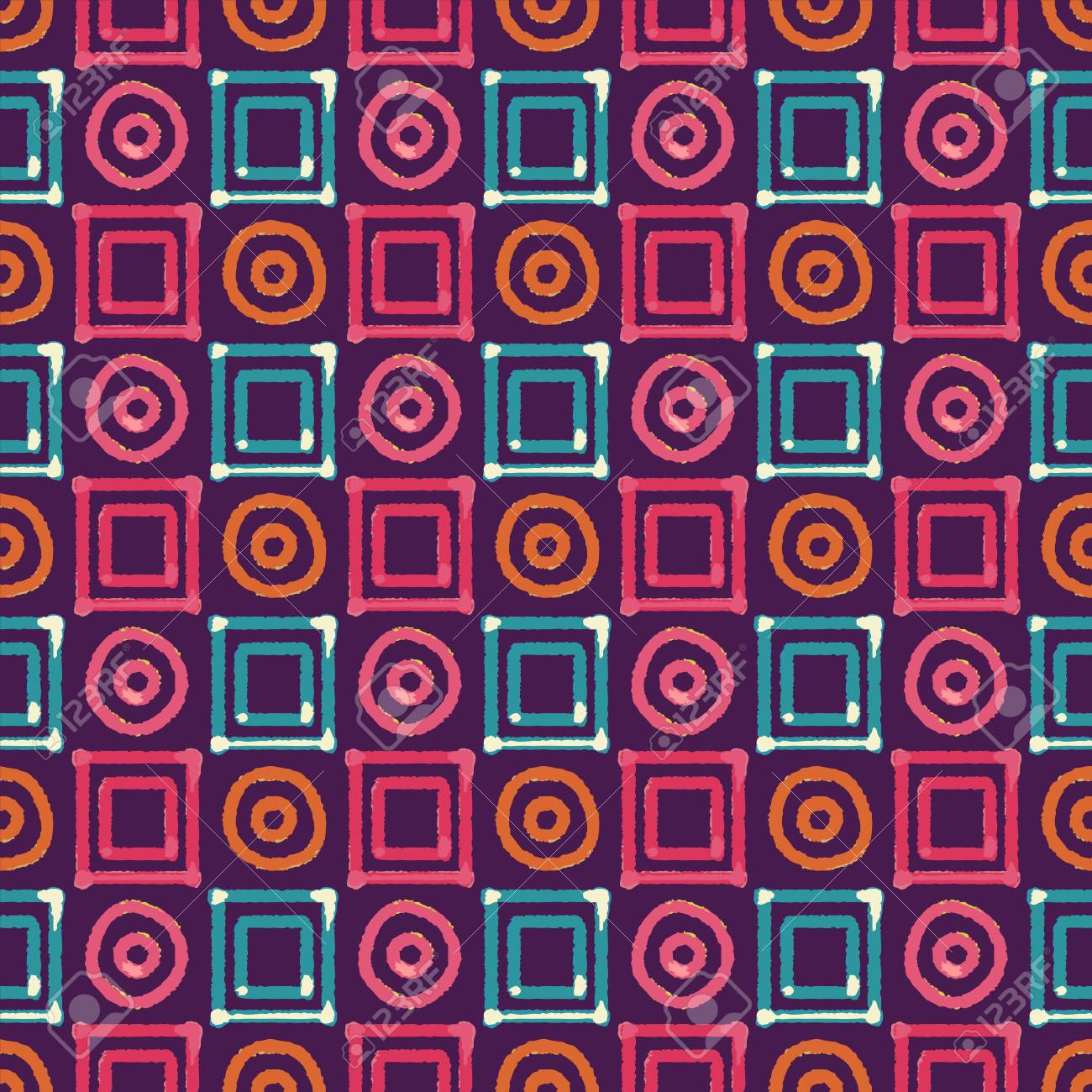 Abstract Art Ethnic Distressed Seamless Pattern With Squares