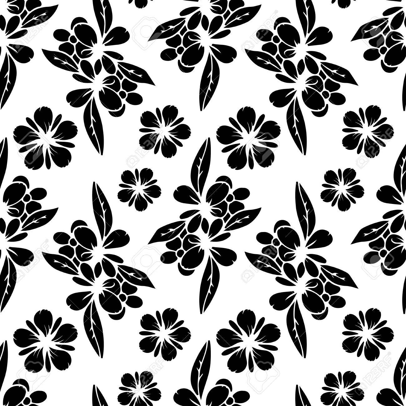 seamless pattern with black silhouettes flowers abstract white floral repeating background texture fabric design