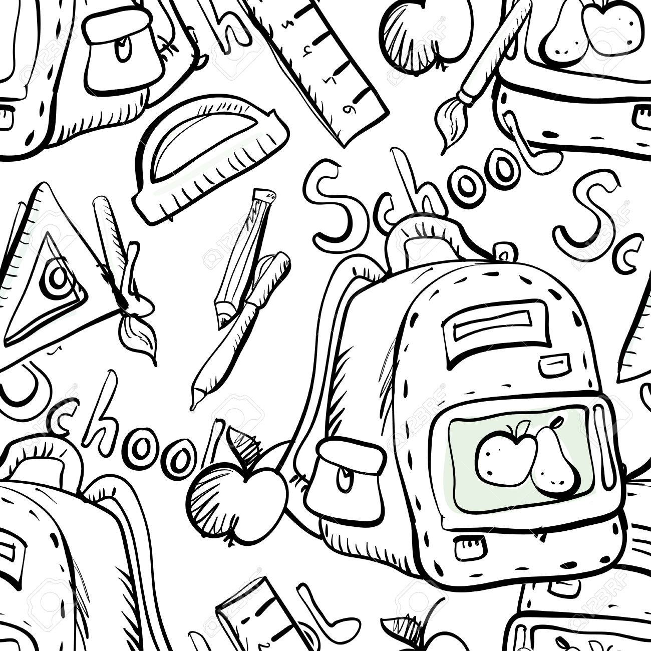 Back To School Seamless Pattern In Black And White Child Cartoon