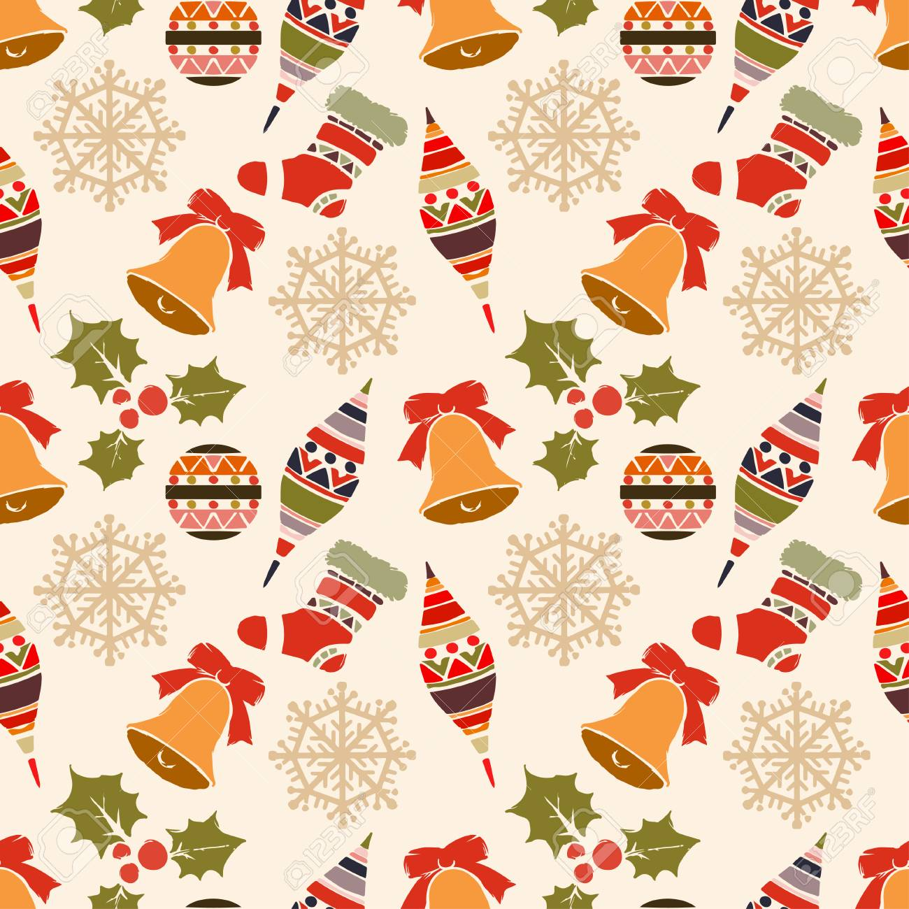Holidays Vintage Christmas Seamless Pattern Abstract Silhouette Royalty Free Cliparts Vectors And Stock Illustration Image 96239584