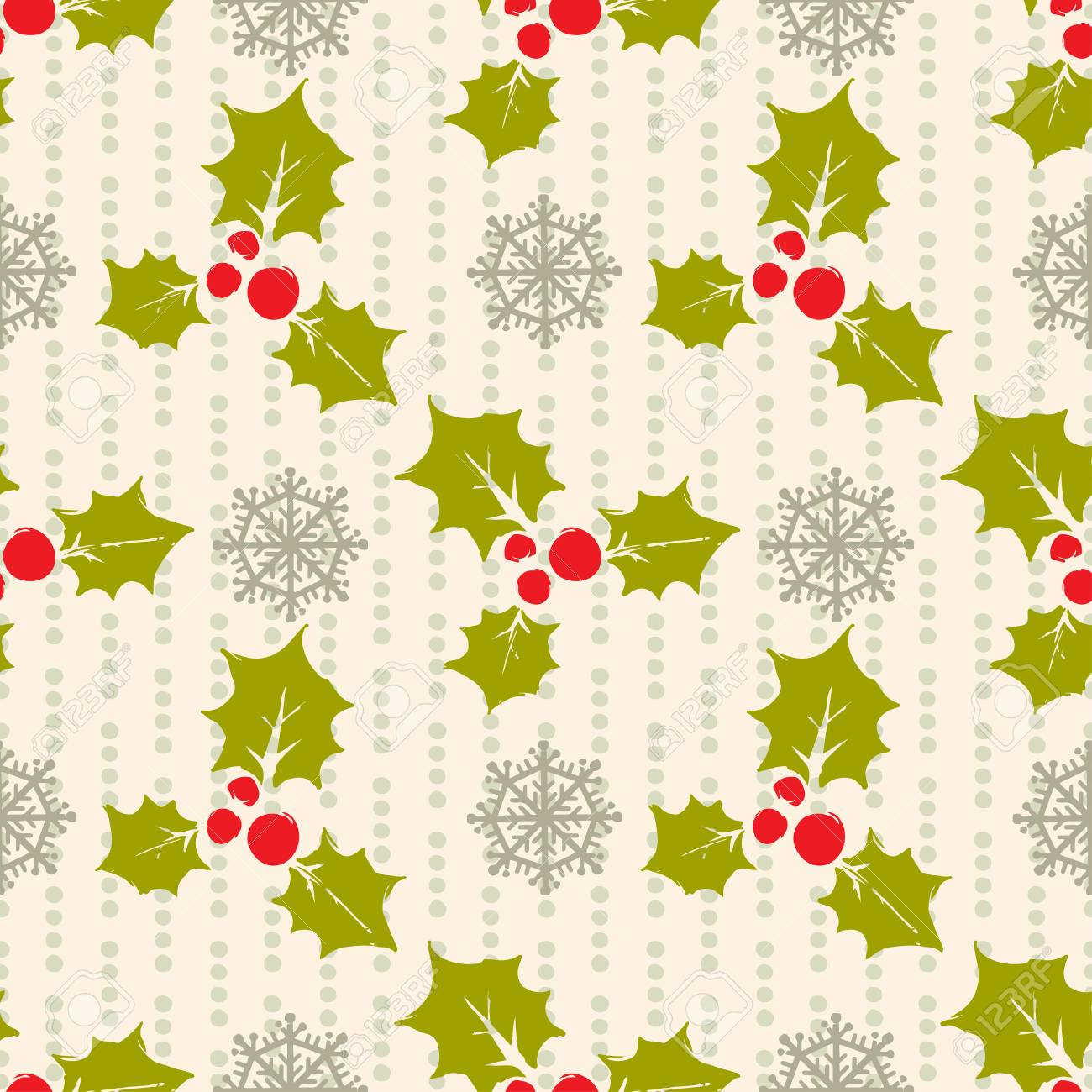 Holidays vintage Christmas seamless pattern. Abstract silhouette..