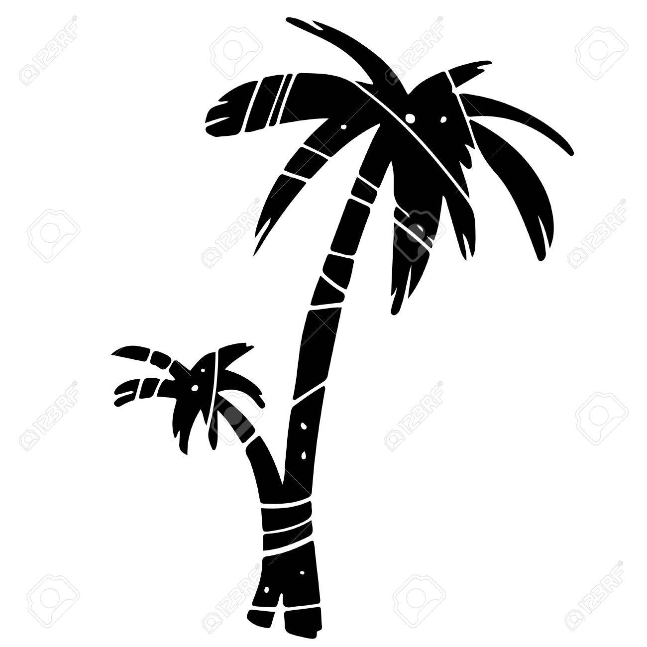 Coconut Palm Tree Black Silhouette Isolated On A White Background Royalty Free Cliparts Vectors And Stock Illustration Image 99155732