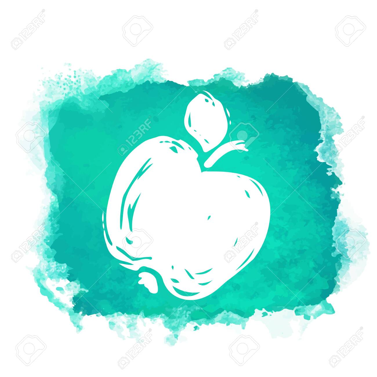 Watercolor green square paint stain with splash and fruit apple closeup white silhouette. Natural icon isolated on white background. Abstract art. Logo design - 149706516