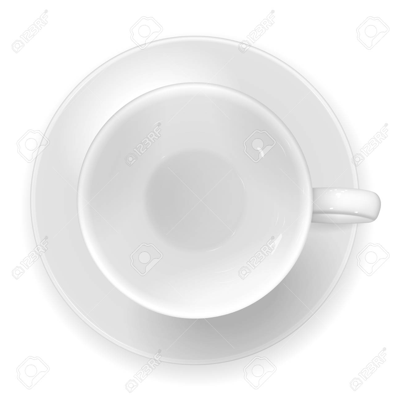 Vector Realistic Image Of A White Porcelain Cup And Saucer Top Royalty Free Cliparts Vectors And Stock Illustration Image 101673987