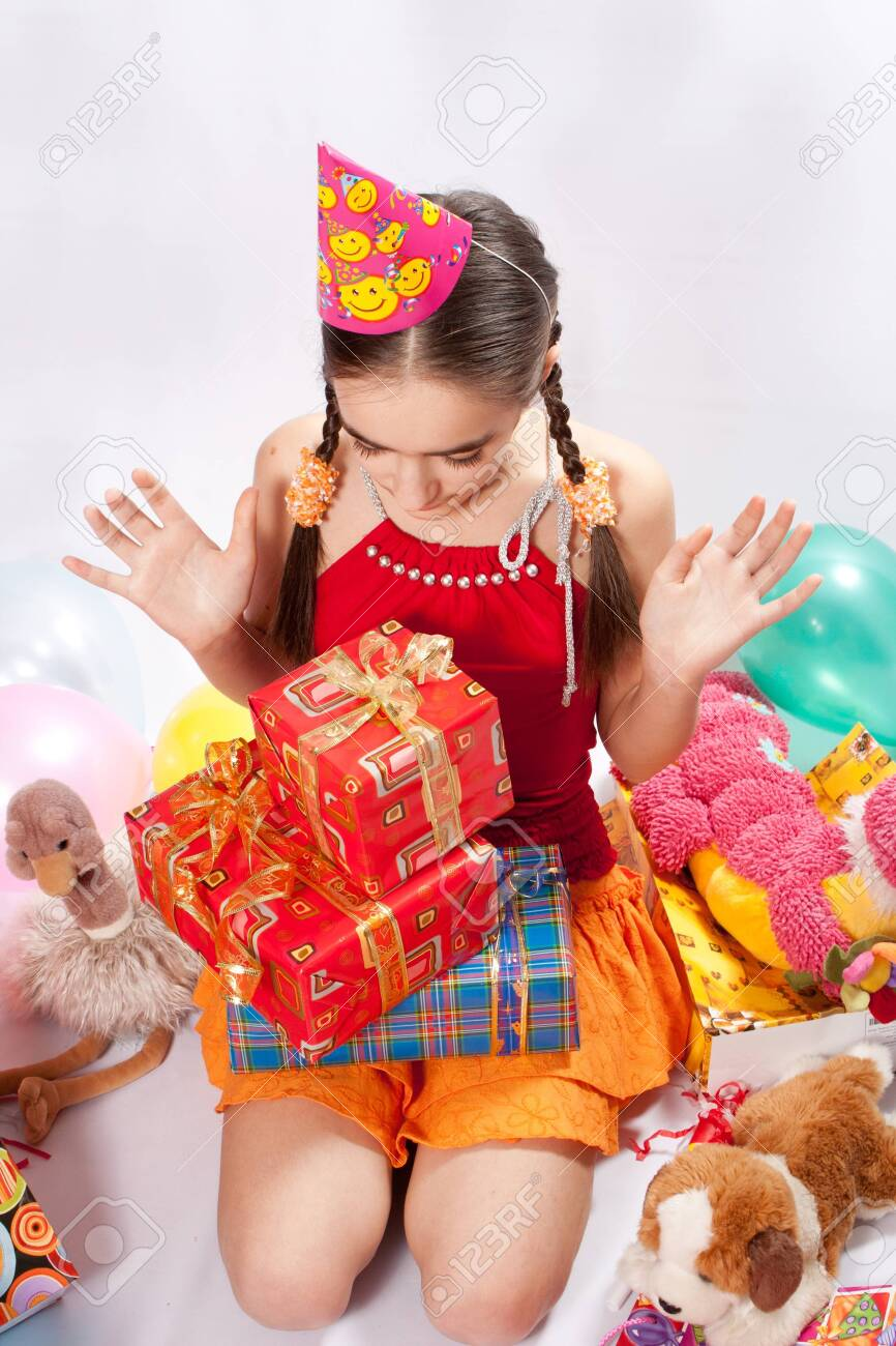 Birthday girl and gifts Stock Photo - 9424307