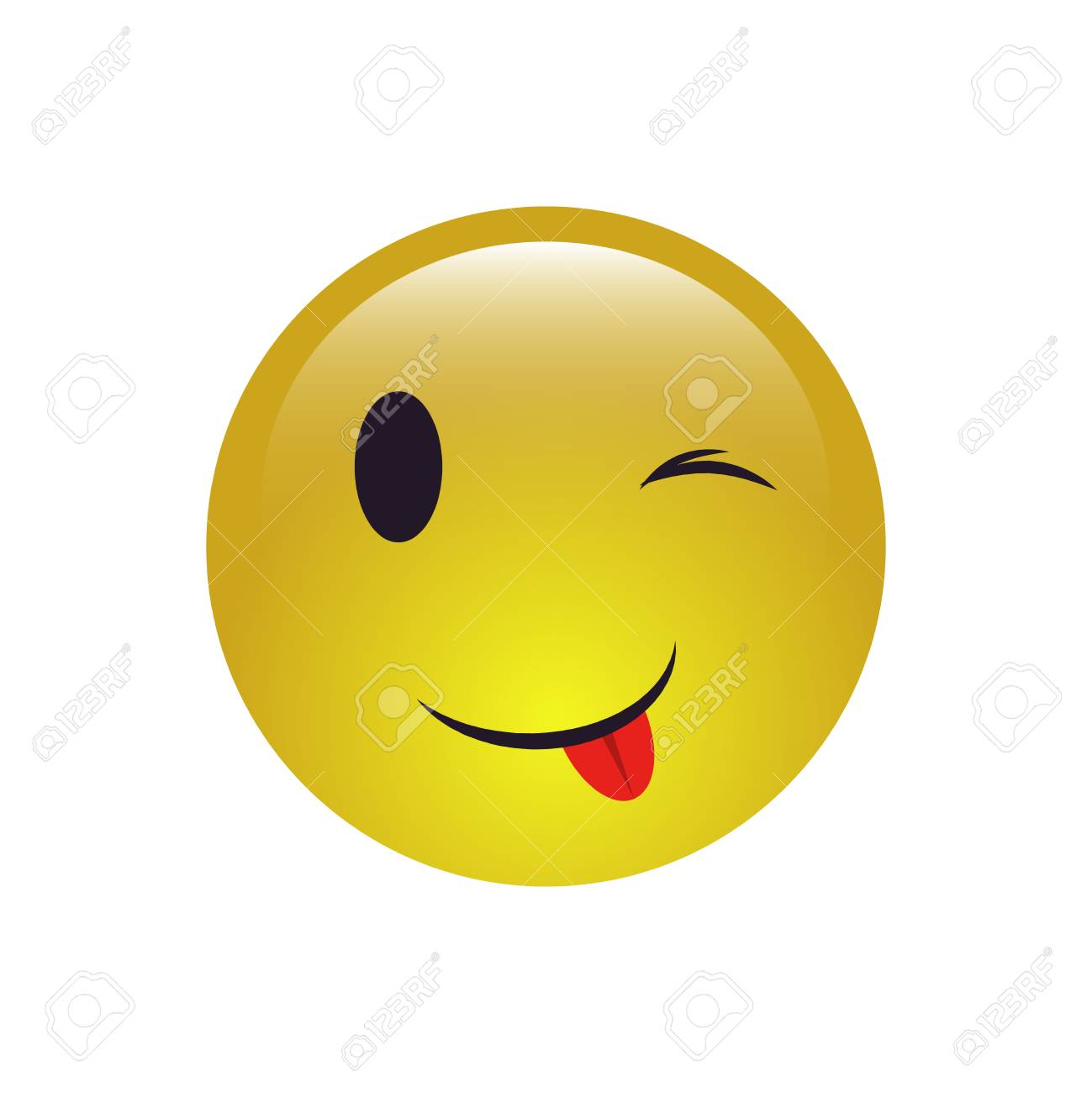 Winking Smiley Face Emoji Icon On The White Background Royalty ...