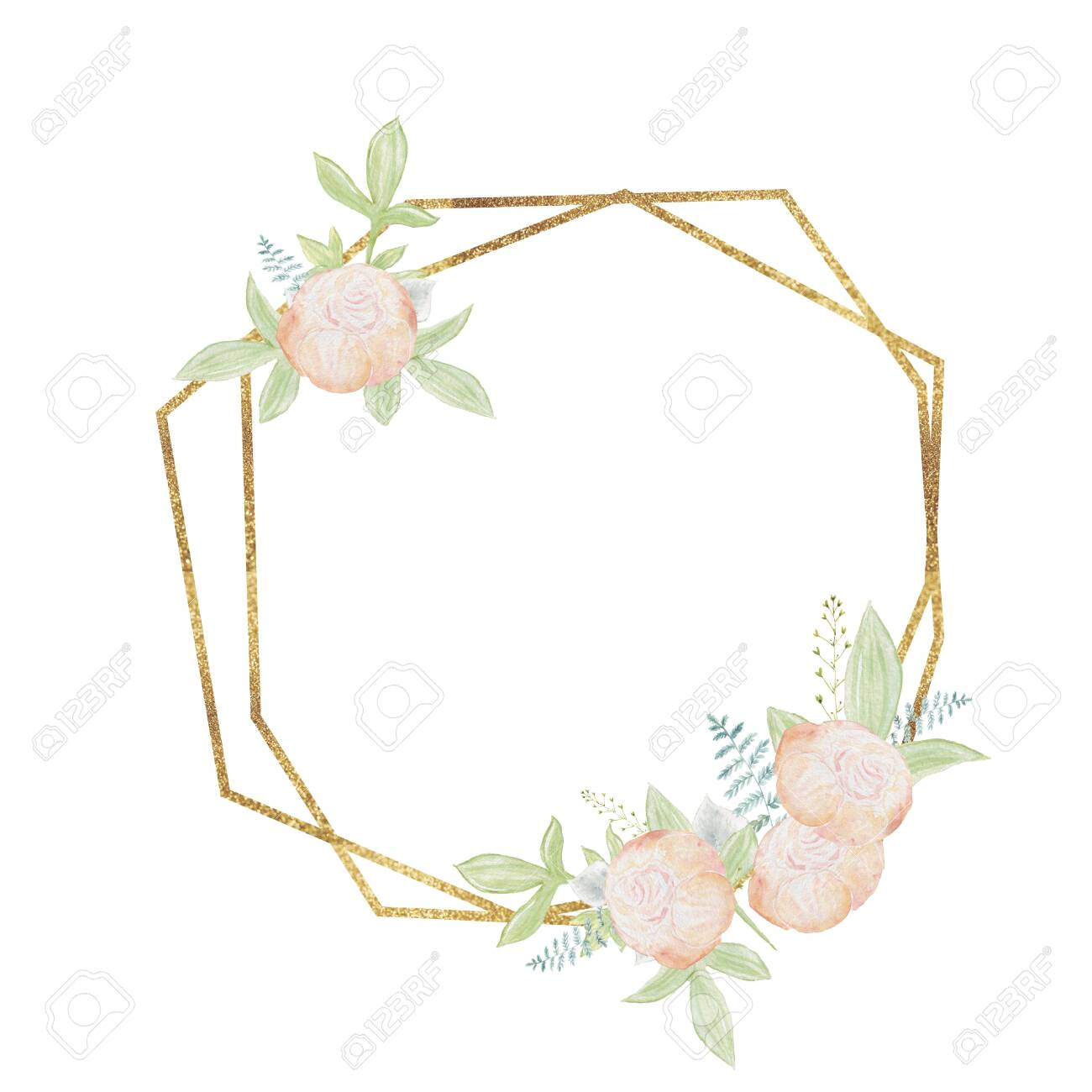 Watercolor Gold Floral Frame Wedding Frames Congratulatory Stock Photo Picture And Royalty Free Image Image 154152322