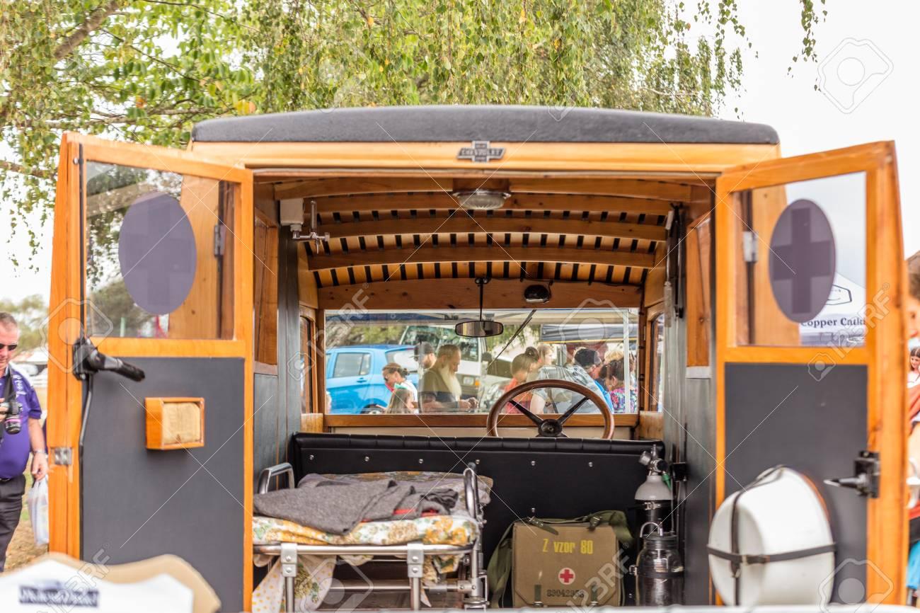Levin, New Zealand - February 10, 2018: Vintage ambulance on