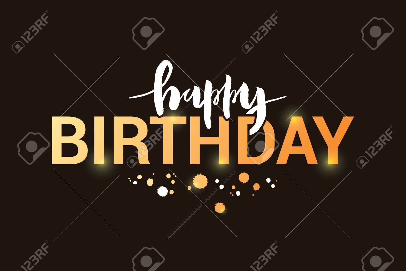 Vector Illustration Of Happy Birthday Title For Greeting Card