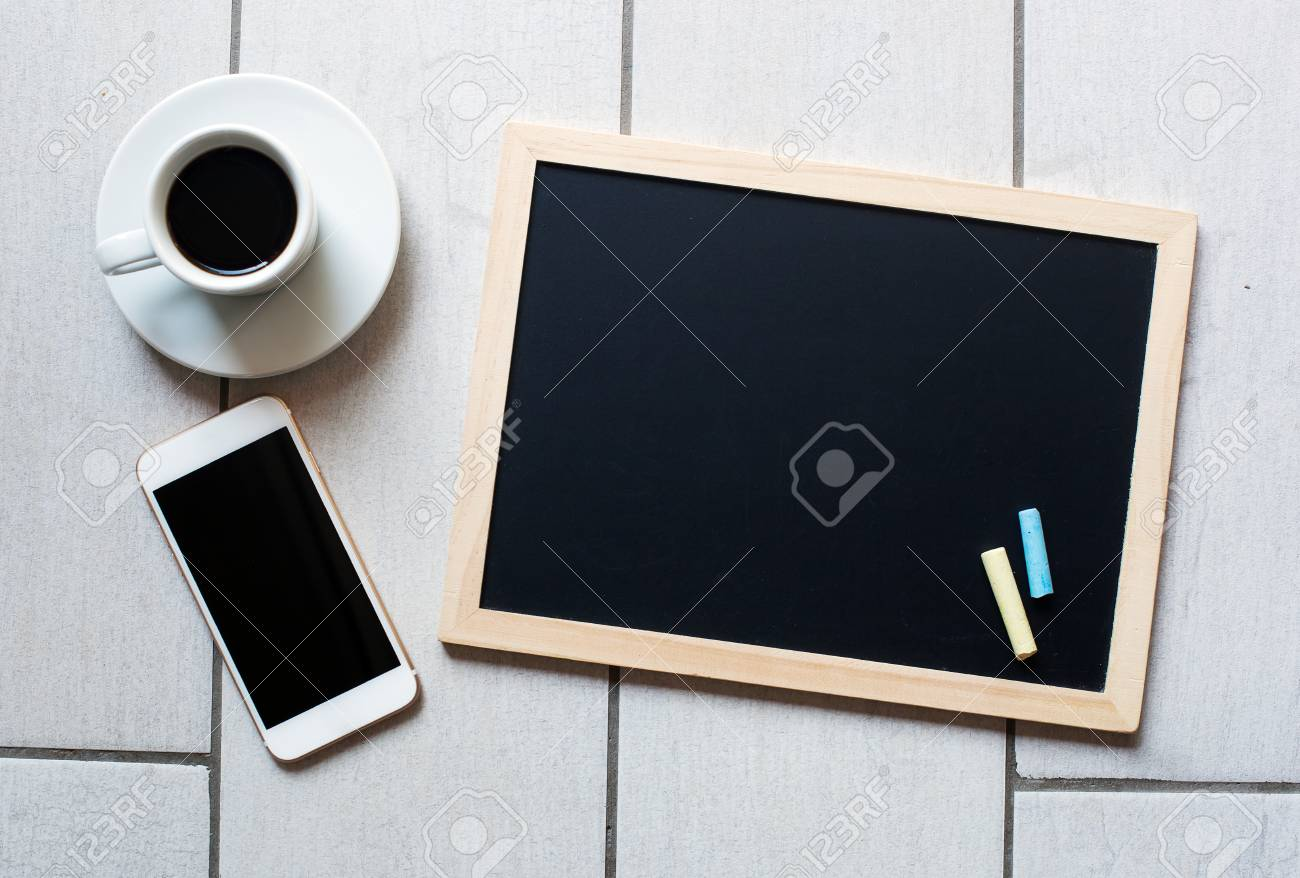 chalkboard office. Chalkboard Or Blackboard Ready For Text. Education Working Concept. Stylish Office Background With