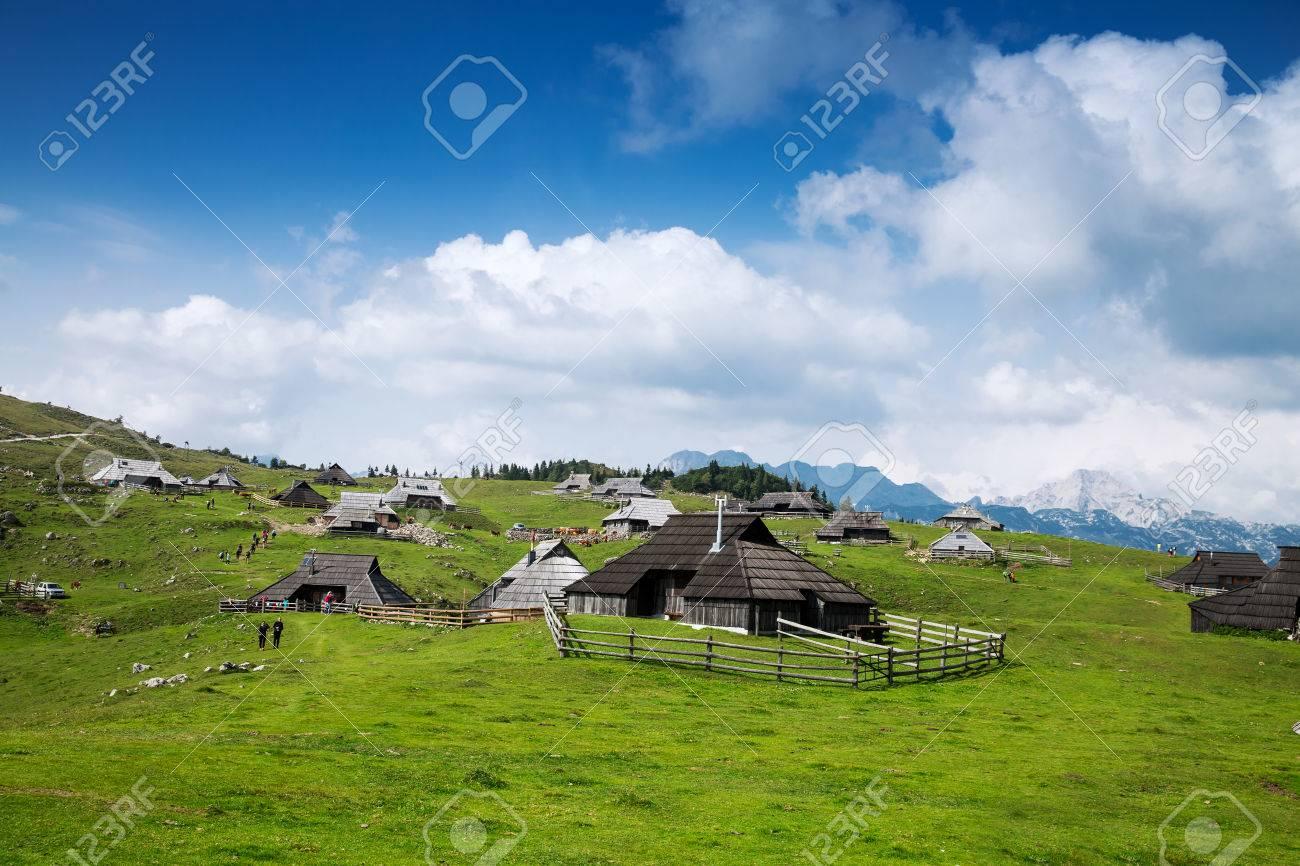 Velika Planina or Big Pasture Plateau in the Kamnik Alps, Slovenia. - 65199328
