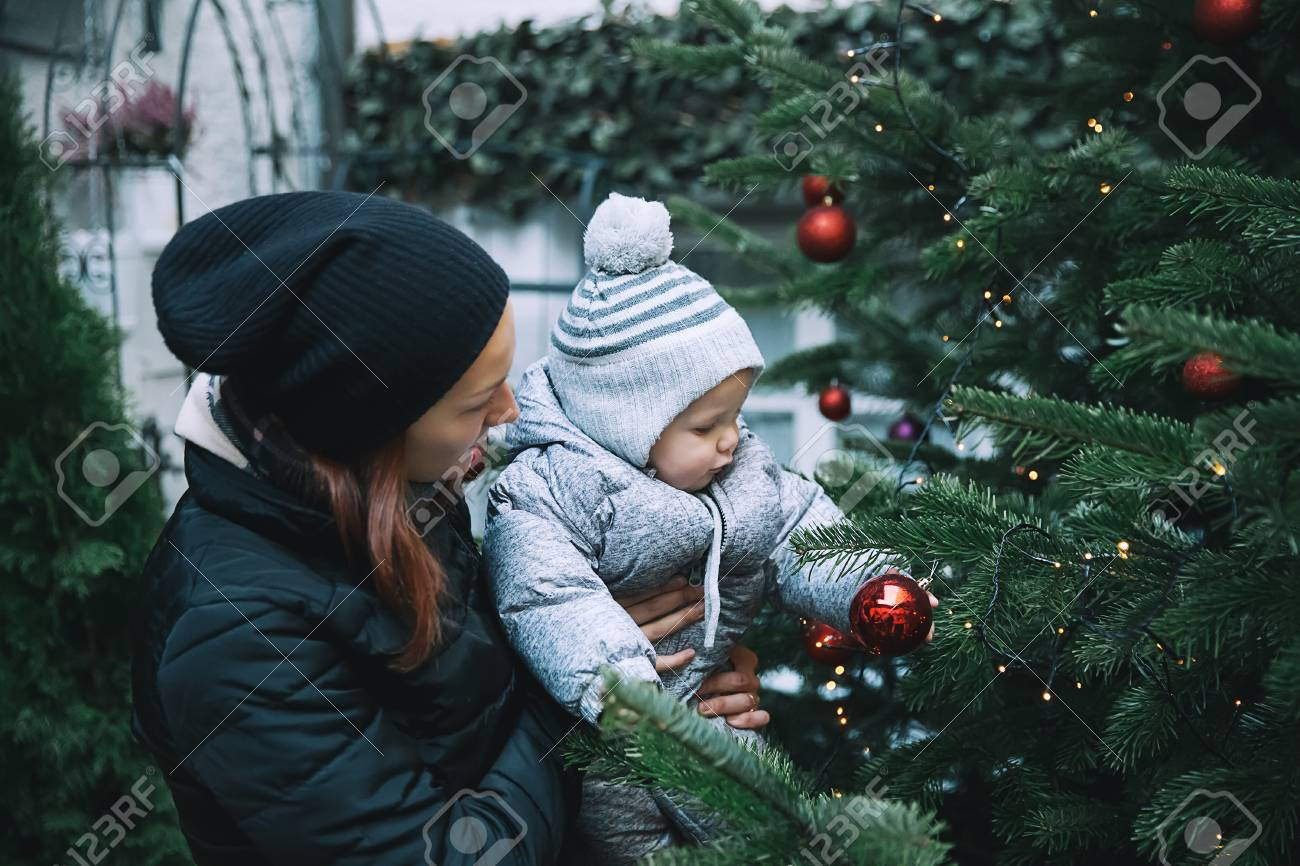 Christmas In Austria Holidays.Happy Family Spend Time At A Christmas And New Year Holidays