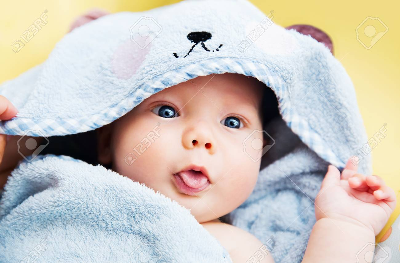 Cutest Baby Child After Bath With Towel On Head Adorable Smiling