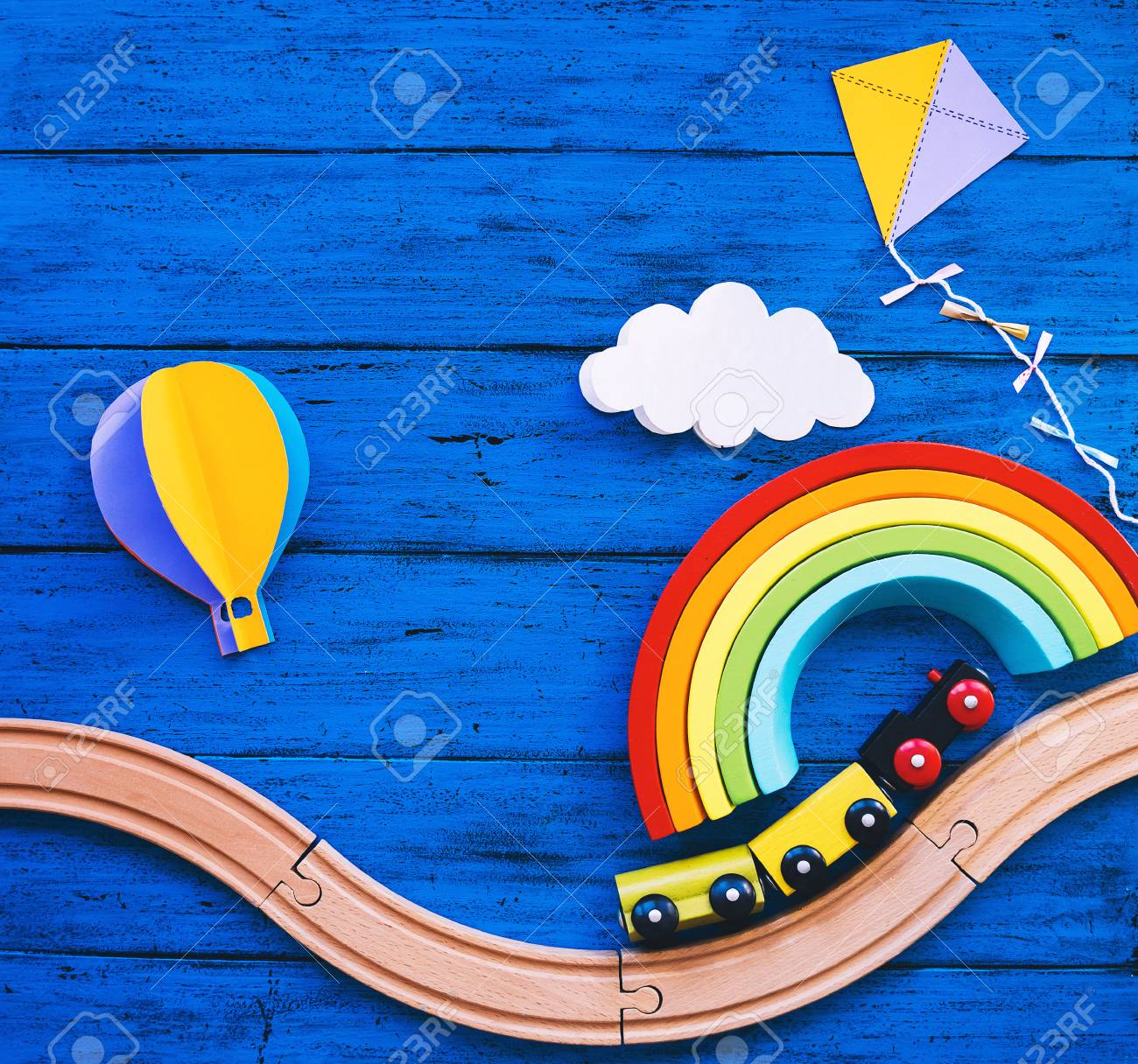 Wooden toy train, railway for preschool child, wood rainbow,