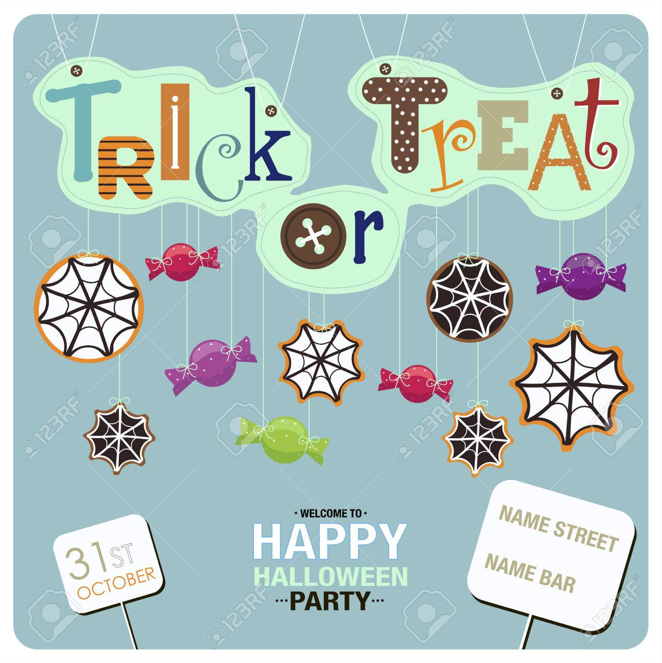 flyers design for happy halloween party candies spider webs