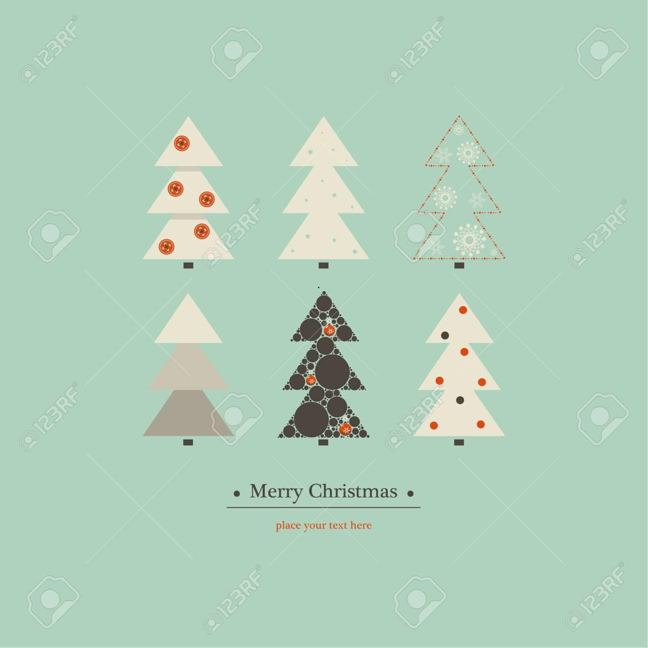 Design De Capa Para Feliz Natal Apresenta Seis árvores De Natal De Design Diferente Em Um Fundo Azul E A Frase Feliz Natal Embaixo