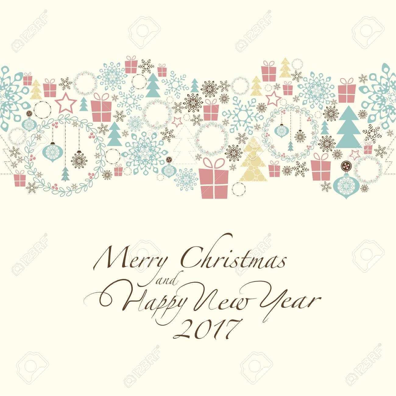 No Topo Do Cartão Contém As Decorações De Natal E Símbolos De Natal E Ano Novo O Feliz Natal Da Frase E O Ano Novo Feliz E Numeram 2017 No Fundo