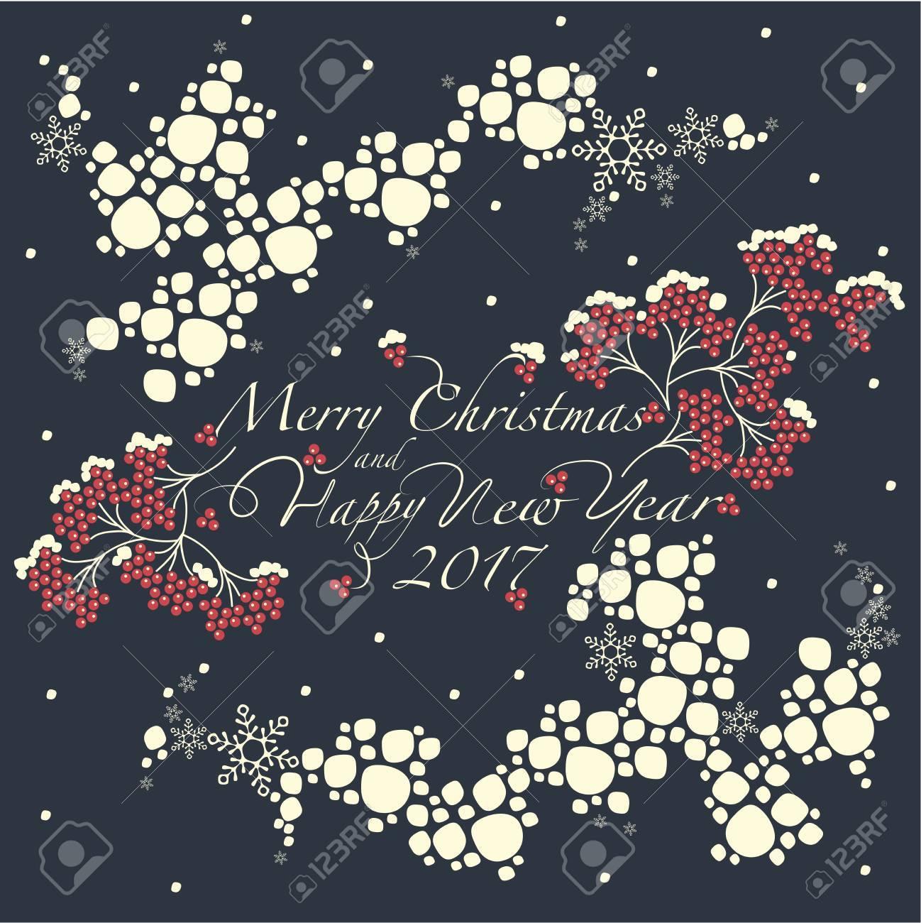 Grupos De Rowan Vermelho O Padrão Do Globo De Neve E A Frase Feliz Natal E Feliz Ano Novo No Fundo Escuro