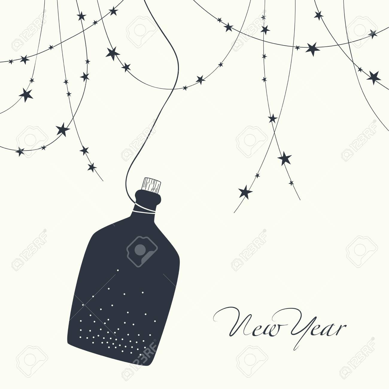 O Design Dos Cartões Garrafa De Vidro Com Cortiça E A Frase Ano Novo No Topo Da Guirlanda De Cartão Postal Com Estrelas