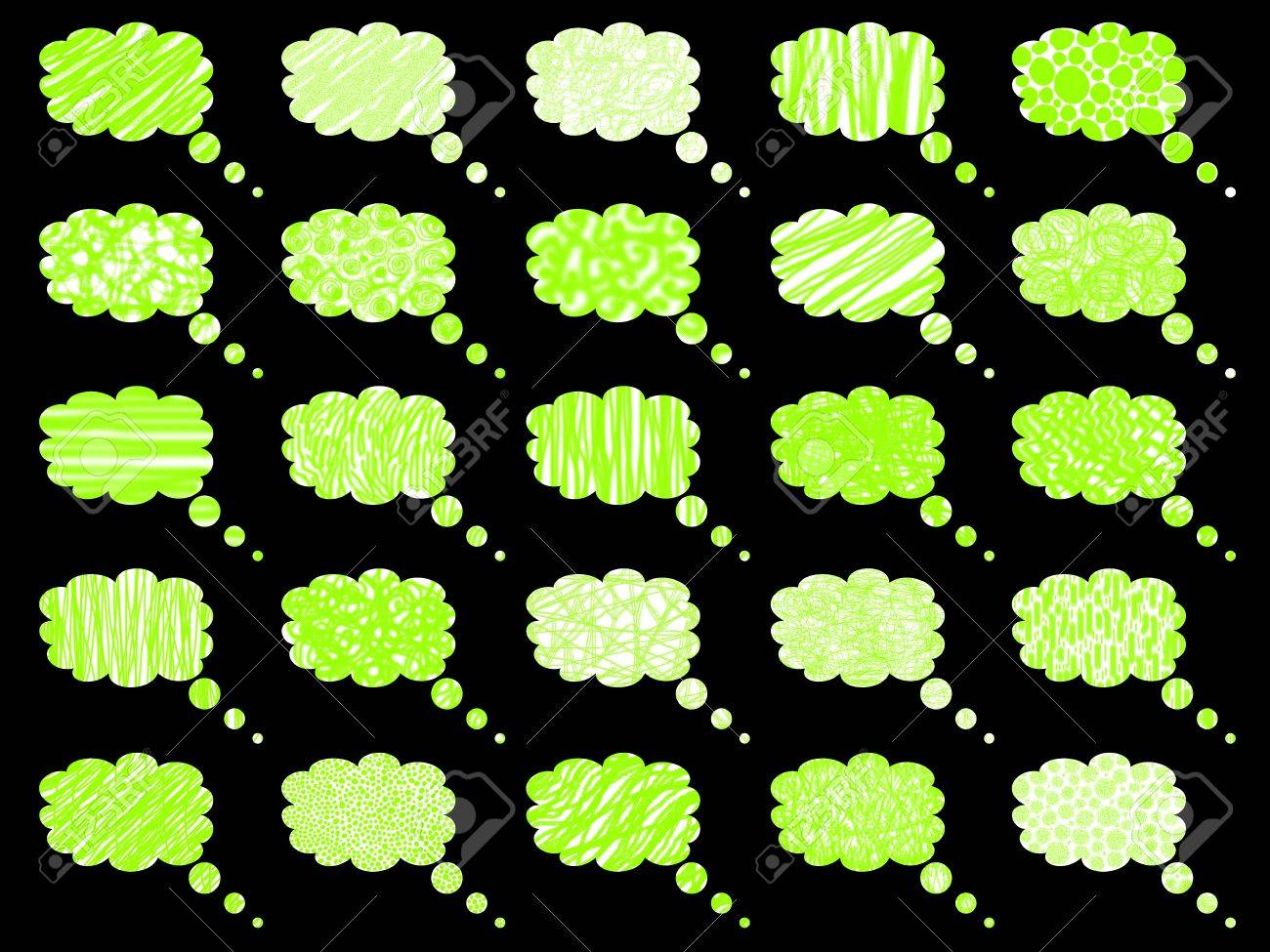 Fluorescent green bubble balloons clouds for comic dialogues Stock Photo - 11734918